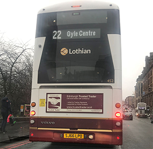 Lothian Buse with Edinburgh banner